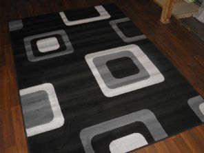 Modern Approx 8x5ft 160x230cm Woven Backed Black/Silver Top Quality Square Rugs